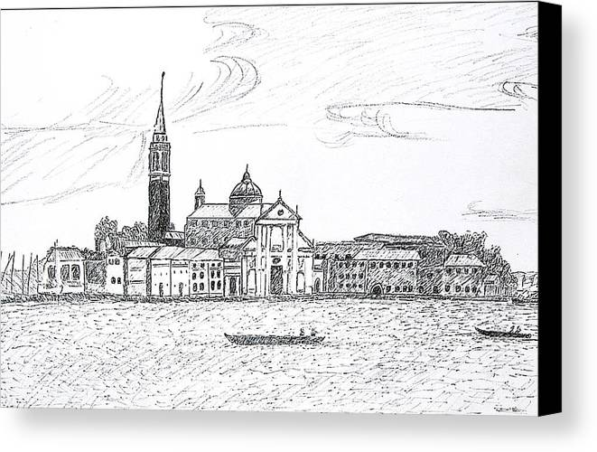 Venice Canvas Print featuring the drawing Venice Italy by Monica Engeler