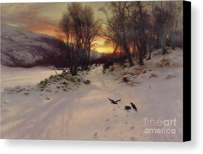 Winter Canvas Print featuring the painting When The West With Evening Glows by Joseph Farquharson