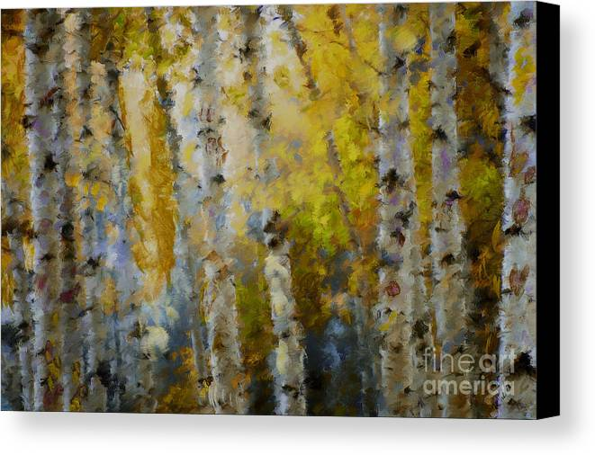 Aspens Canvas Print featuring the mixed media Yellow Aspens by Marilyn Sholin