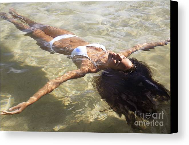 Age Canvas Print featuring the photograph Young Woman In The Water by Brandon Tabiolo - Printscapes