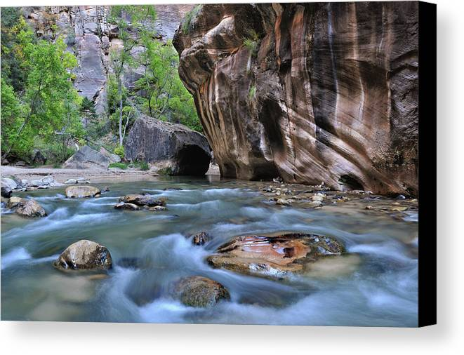 The Narrows Canvas Print featuring the photograph Zion National Park Narrows by Dean Hueber