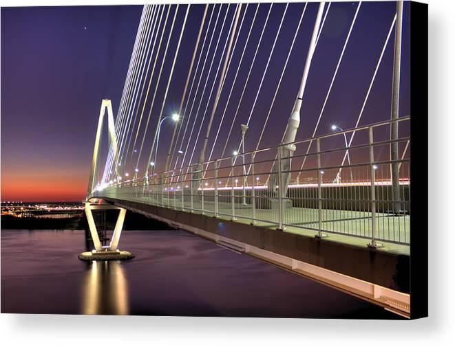 Arthur Canvas Print featuring the photograph Arthur Ravenel Jr. Bridge by Dustin K Ryan