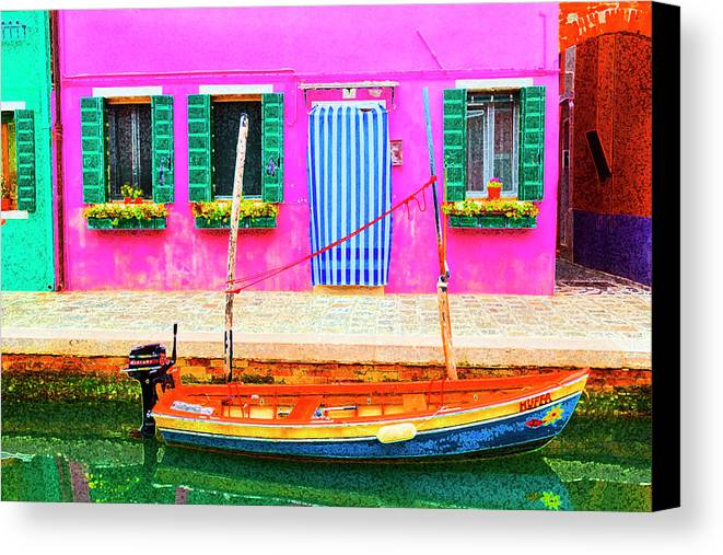 Burano Canvas Print featuring the photograph Burano Anisland Of Multi Colored Homes On Canals North Of Venice Italy by Bruce Beck