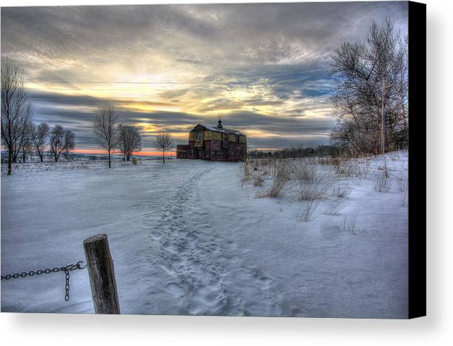 Barn Canvas Print featuring the photograph 1888 Barn In Winter 01 by Frank Thuringer