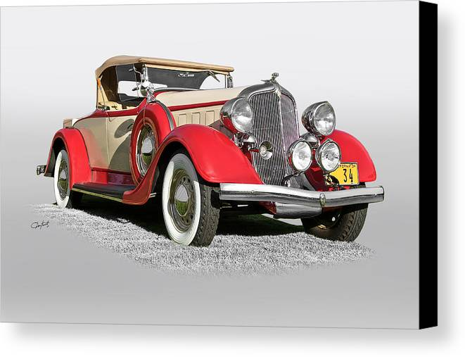 Auto Canvas Print featuring the photograph 1934 Chrysler Roadster by Dave Koontz