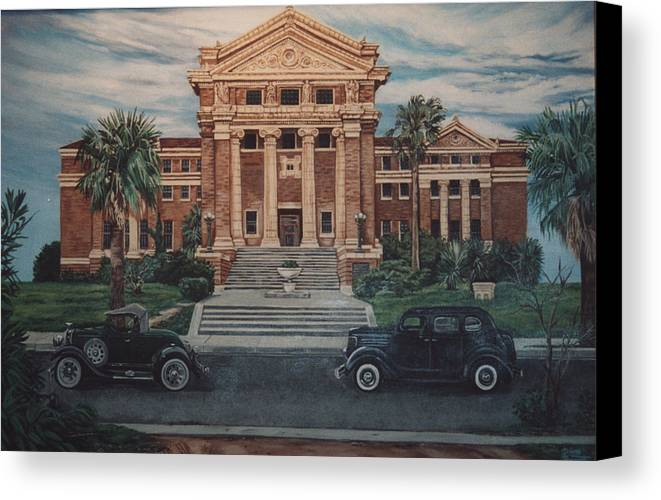 Architecture Canvas Print featuring the painting 1936 Era Nueces County Courthouse by Diann Baggett