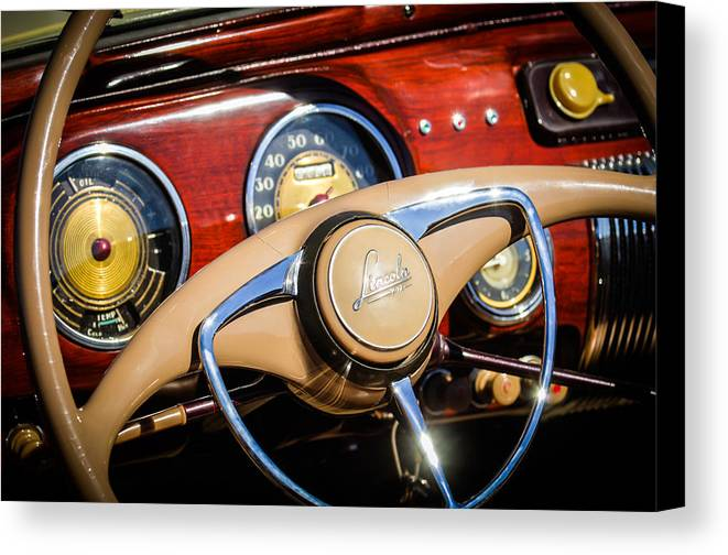 Car Canvas Print featuring the photograph 1941 Lincoln Continental Cabriolet V12 Steering Wheel by Jill Reger