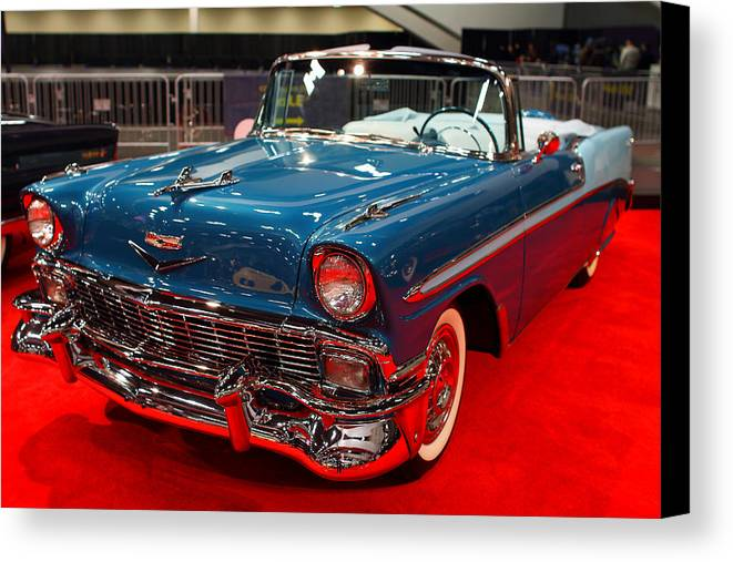 Transportation Canvas Print featuring the photograph 1956 Chevrolet Bel-air Convertible . Blue . 7d9248 by Wingsdomain Art and Photography