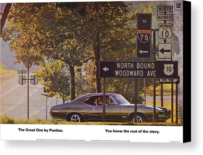 The Canvas Print featuring the digital art 1968 Pontiac Gto - Woodward - The Great One By Pontiac by Digital Repro Depot
