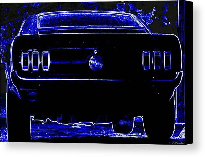 Mustang Canvas Print featuring the photograph 1969 Mustang In Neon 2 by Susan Bordelon