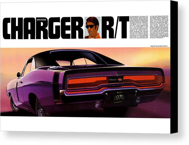 1970 Canvas Print featuring the digital art 1970 Dodge Charger Rt by Digital Repro Depot