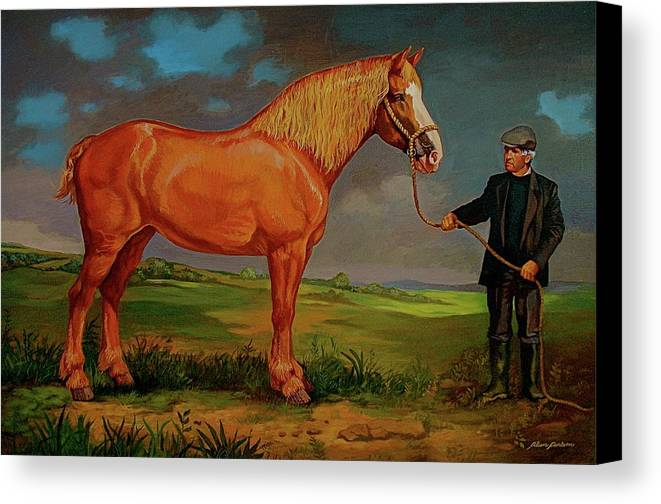 Belgian Draft Horse Irish Green Country. Canvas Print featuring the painting Belgian Draft Horse. by Alan Carlson