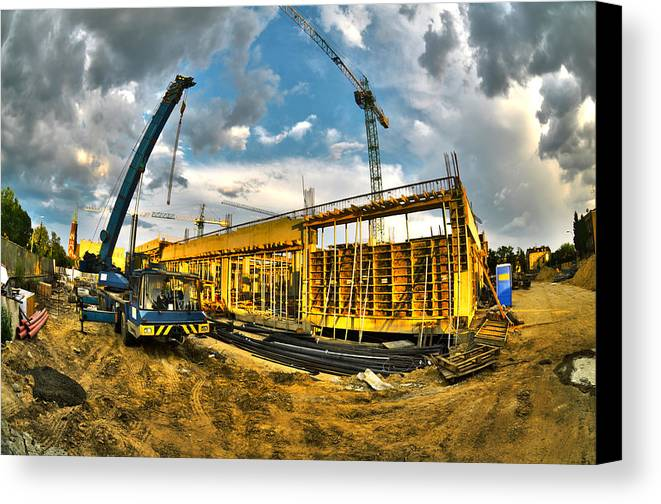 Apartment Canvas Print featuring the photograph Construction Site by Jaroslaw Grudzinski