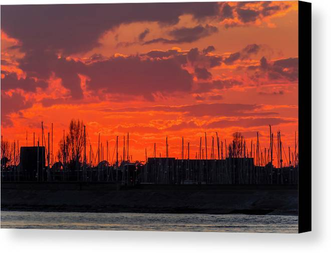 Sunset Canvas Print featuring the photograph Fire by Angela Aird