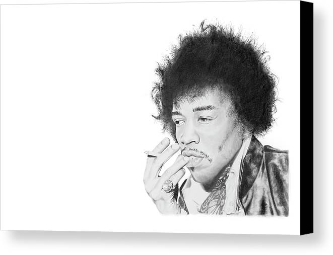 Hendrix Canvas Print featuring the drawing Jimi Hendrix by Don Medina