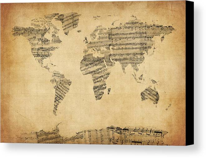 Map of the world map from old sheet music canvas print canvas art world map canvas print featuring the digital art map of the world map from old sheet gumiabroncs Gallery