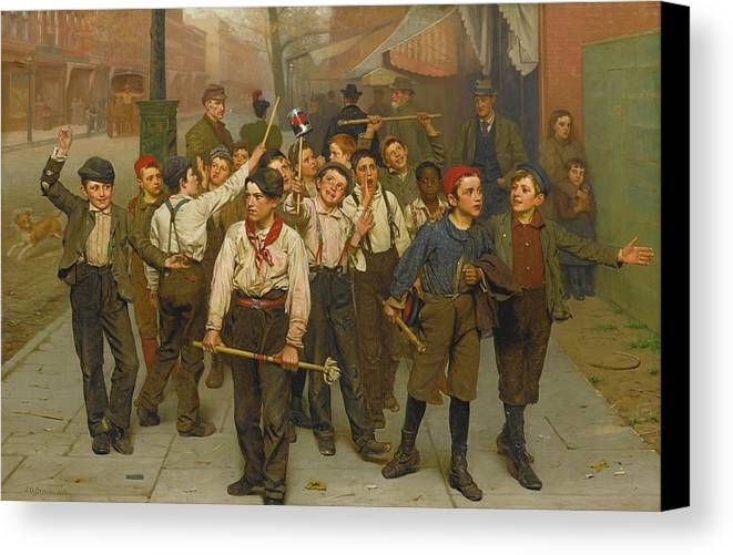 John George Brown 1831 - 1913 Our Gang Canvas Print featuring the painting Our Gang by John George