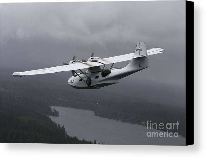 Transportation Canvas Print featuring the photograph Pby Catalina Vintage Flying Boat by Daniel Karlsson