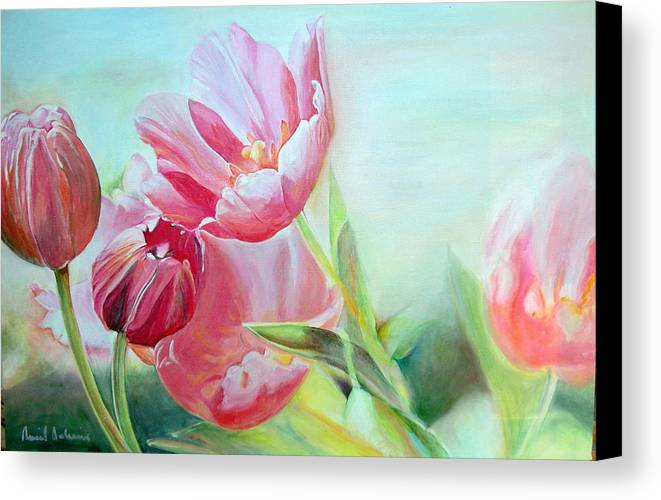 Floral Painting Canvas Print featuring the painting Tulipes by Muriel Dolemieux