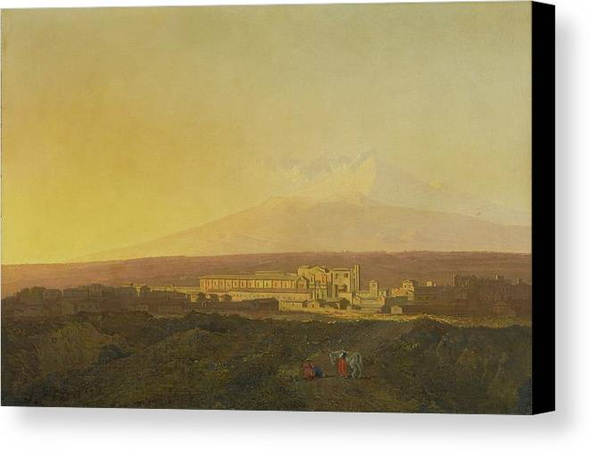 Joseph Wright Of Derby Canvas Print featuring the painting View Of Catania by Joseph Wright