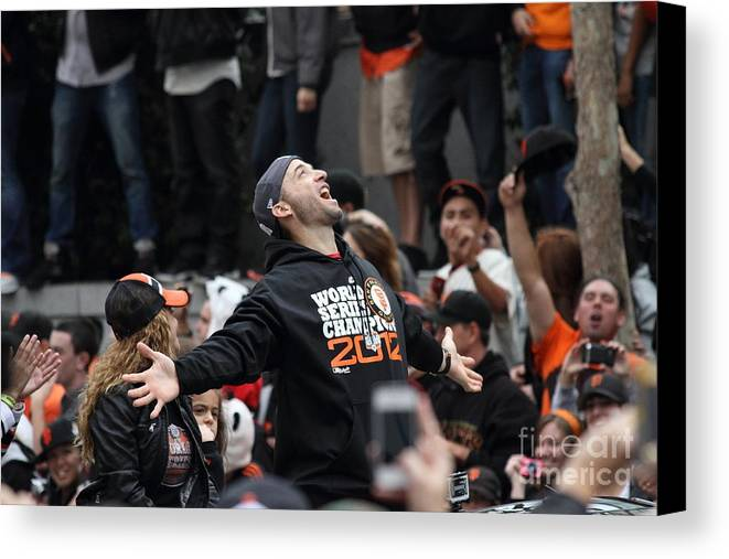 Sport Canvas Print featuring the photograph 2012 San Francisco Giants World Series Champions Parade - Marco Scutaro - Dpp0008 by Wingsdomain Art and Photography