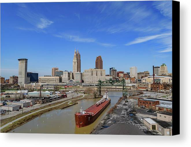 Belt Canvas Print featuring the photograph Cleveland Skyline by Cityscape Photography