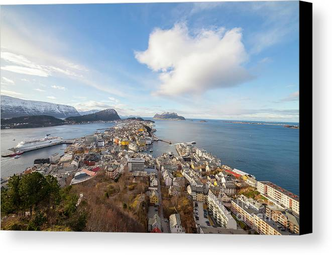 Aalesund Canvas Print featuring the photograph Aalesund City by Arild Lilleboe