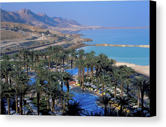 Luxury Resort Canvas Print featuring the photograph Luxury Resort On The Dead Sea by Carl Purcell