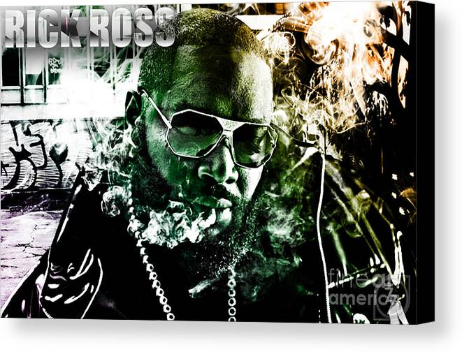 Rick Ross Canvas Print featuring the digital art Rick Ross by The DigArtisT