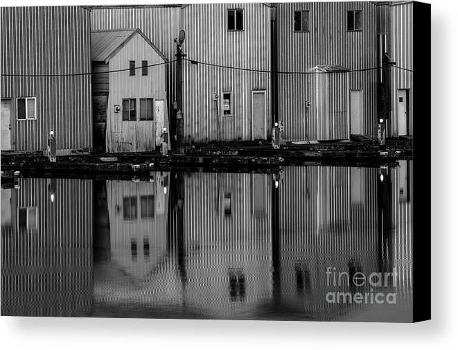 Everett Marina Canvas Print featuring the photograph Boathouse Reflections by Jim Corwin