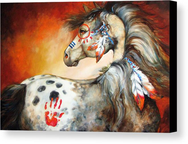 Horse Canvas Print featuring the painting 4 Feathers Indian War Pony by Marcia Baldwin