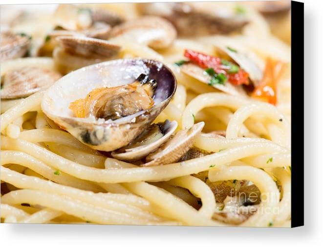 Naples Canvas Print featuring the photograph Italian Spaghetti And Clams Made In Naples by Massimiliano Marino