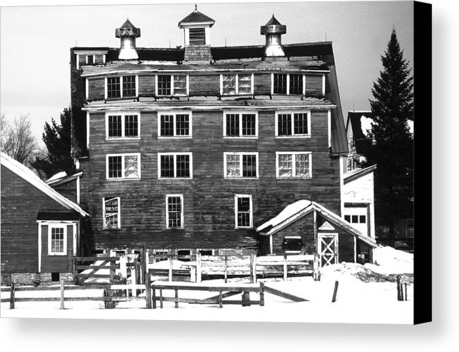 Canvas Print featuring the photograph 4 Story Barn In Winter by Roger Soule