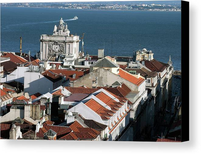 Red Tile Roofs Canvas Print featuring the photograph View Of Lisbon Harbor And Clock Tower by Carl Purcell