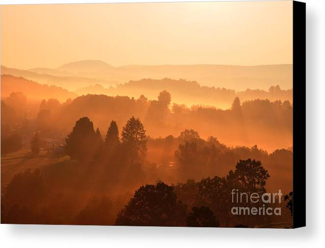 Sunrise Canvas Print featuring the photograph Misty Mountain Sunrise by Thomas R Fletcher