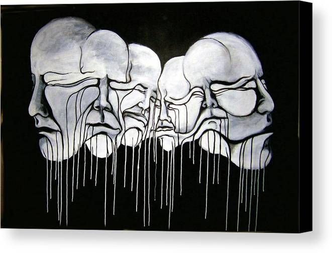Faces Canvas Print featuring the painting 6 Faces by Stephen Barry