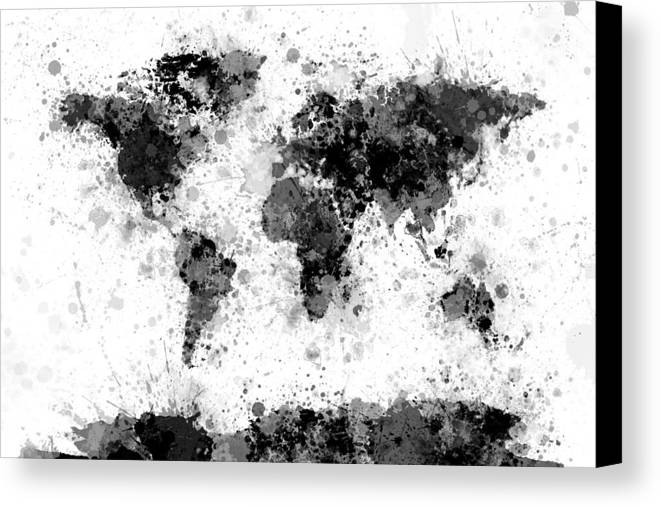 World map paint splashes canvas print canvas art by michael tompsett map of the world canvas print featuring the digital art world map paint splashes by michael gumiabroncs Gallery