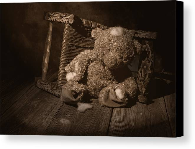 Teddy Bear Canvas Print featuring the photograph A Child Once Loved Me by Tom Mc Nemar