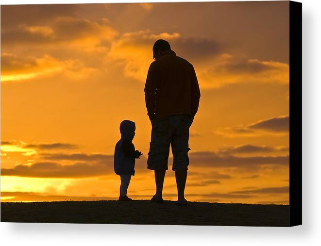 Outdoors Canvas Print featuring the photograph A Father And His Baby Son Watch by Jason Edwards