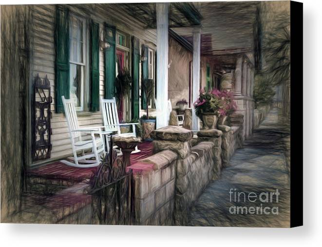 A Porch On The Bay Canvas Print featuring the photograph A Porch On The Bay by C W Hooper