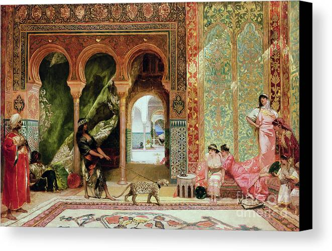 Royal Canvas Print featuring the painting A Royal Palace In Morocco by Benjamin Jean Joseph Constant