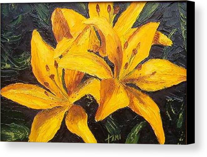 Canvas Print featuring the painting A Touch Of Gold by Tami Booher