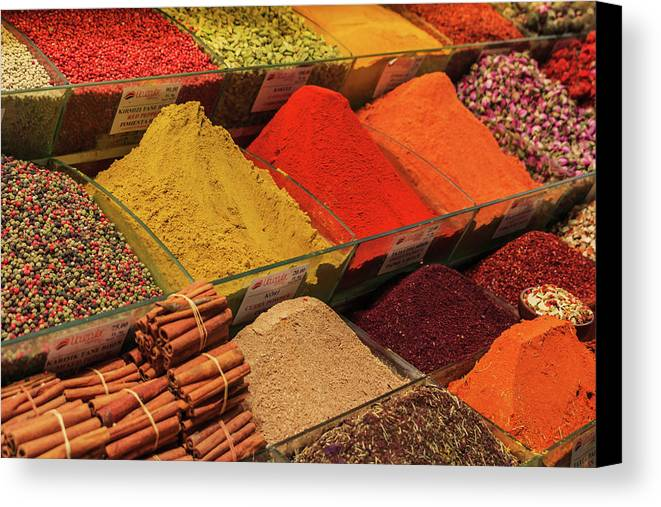 George Westermak Canvas Print featuring the photograph A Typical Set Of Shops In Istanbul Spice Market by George Westermak