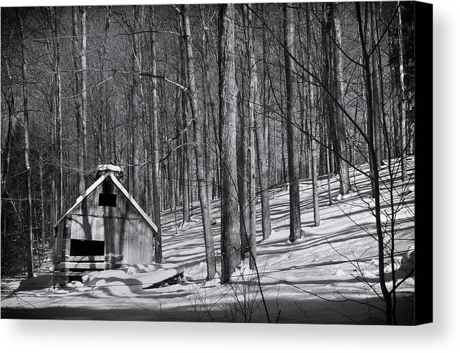 Plotczyk Canvas Print featuring the photograph Abandoned New England Sugarhouse by Michael Plotczyk