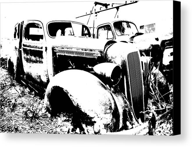 Abstract Canvas Print featuring the photograph Abstract High Contrast Old Car by MIke Loudemilk