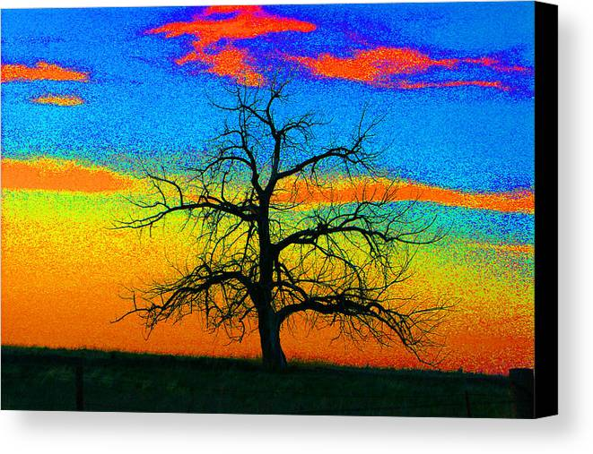 Abstract Canvas Print featuring the photograph Abstract Single Tree Strong Colors by Mike Loudermilk