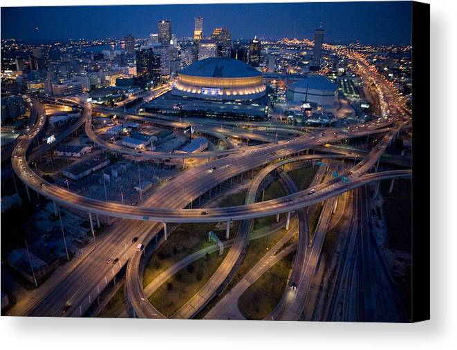 Night Canvas Print featuring the photograph Aerial Of The Superdome In The Downtown by Tyrone Turner