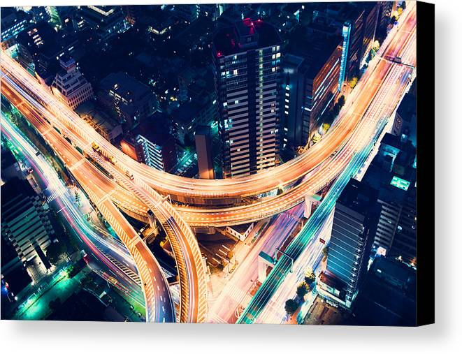 Japan Canvas Print featuring the photograph Aerial-view Highway Junction At Night In Tokyo Japan by Michiko Tierney