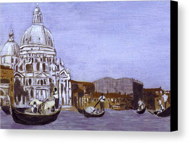 Landscape Canvas Print featuring the painting After The Grand Canal And The Church Of The Salute by Hyper - Canaletto