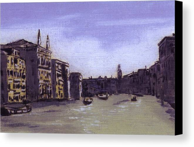 Landscape Canvas Print featuring the painting After The Grand Canal From Campo San Vio Near The Rialto Bridge by Hyper - Canaletto